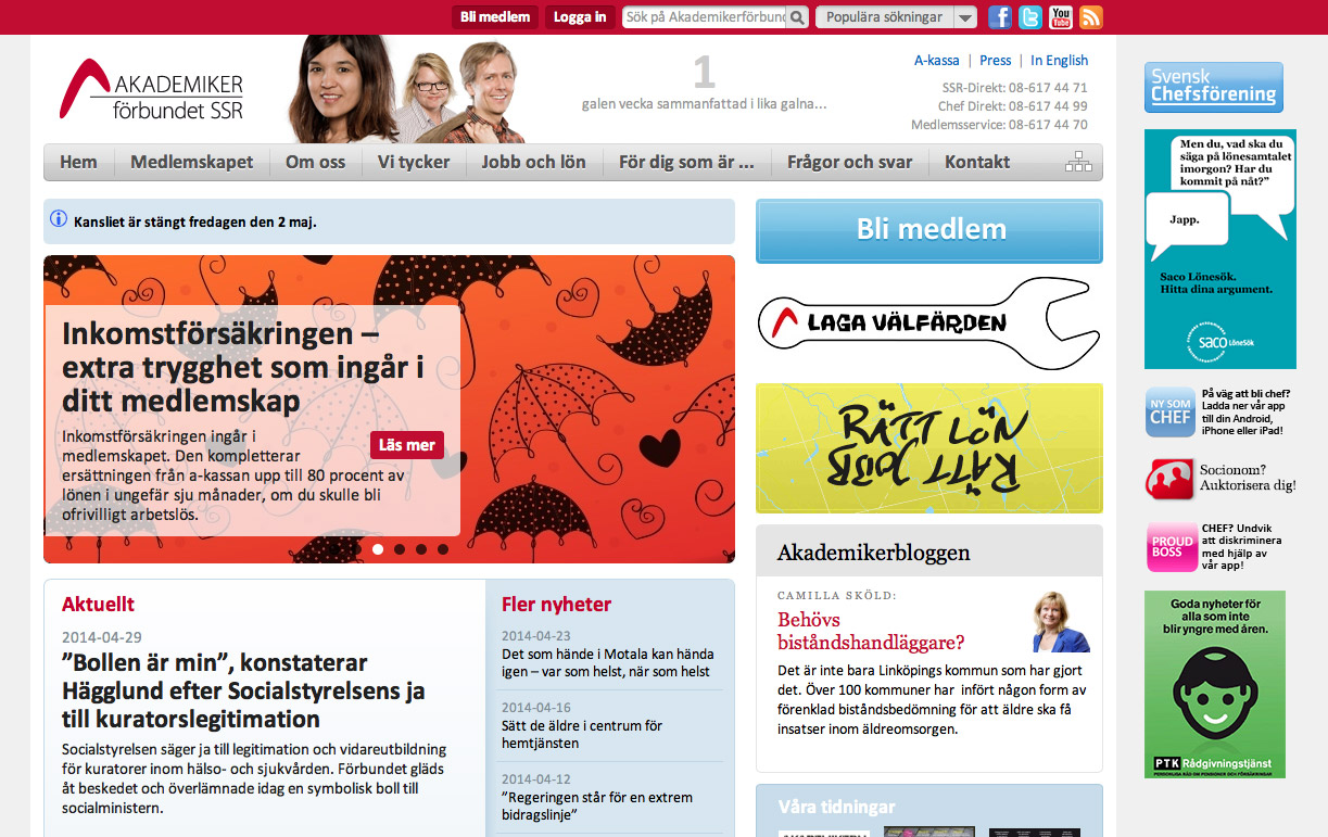 Akademikerförbundet SSR's site, published with CMS Jardinero