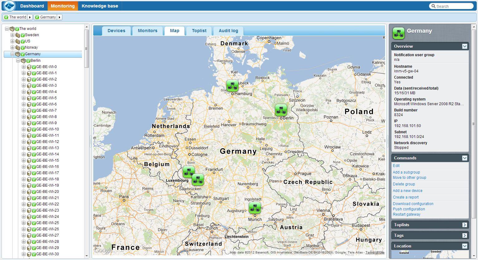 Kaseya Network Monitor v5 map