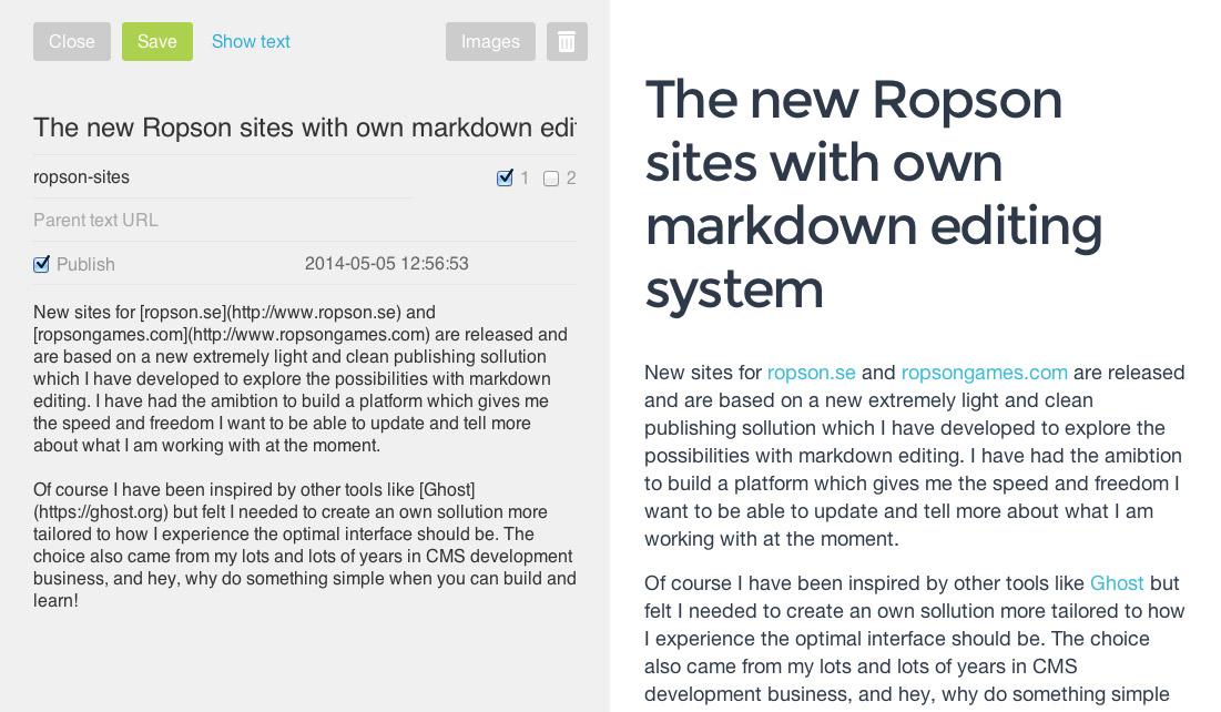 Ropson markdown editing